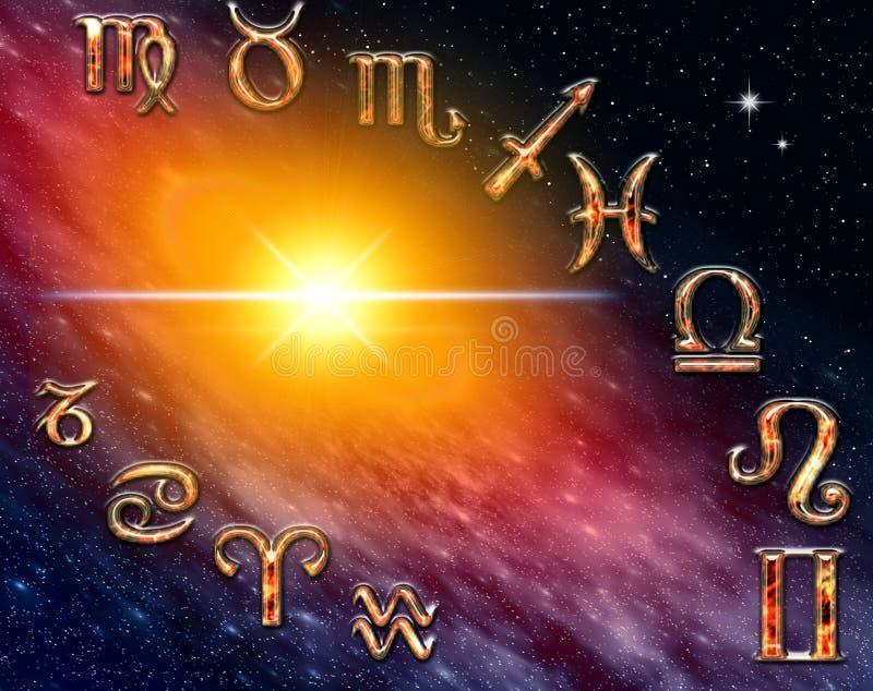 Doce símbolos del zodiaco stock de ilustración