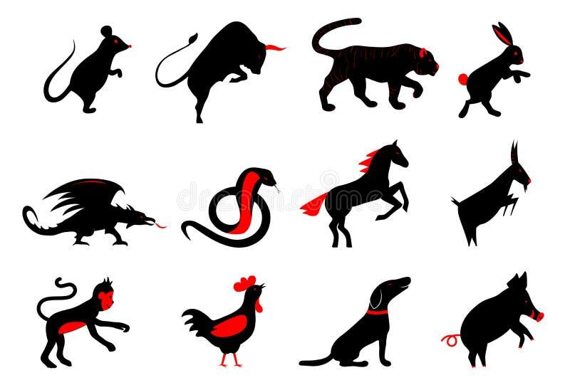 Doce símbolos lunares del horóscopo del zodiaco del año chino stock de ilustración