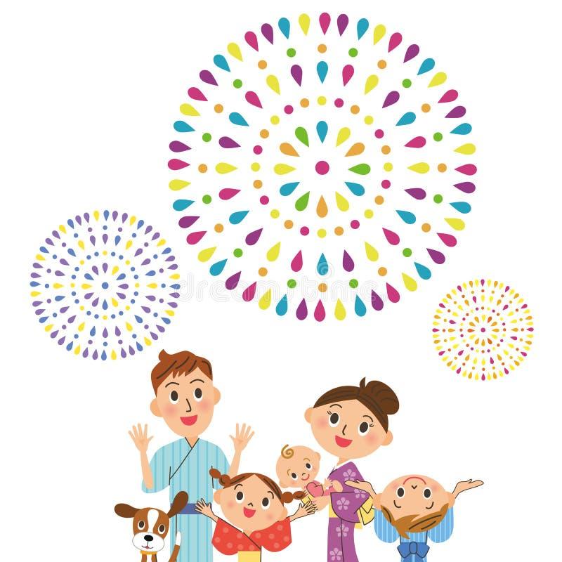 Docenia fajerwerki w rodzicu i dziecku royalty ilustracja