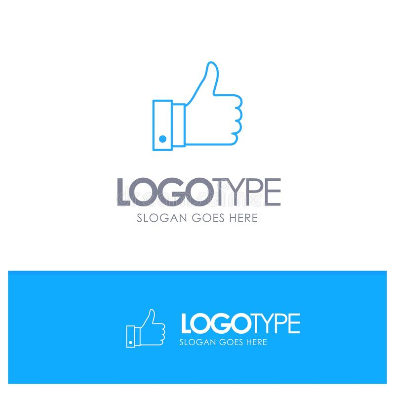 Docenia, komentarze, Dobrzy, Jak Błękitny konturu logo z miejscem dla tagline ilustracja wektor