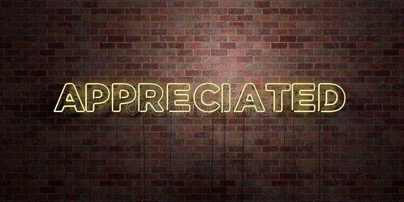 DOCENIAJĄCY - fluorescencyjny Neonowej tubki znak na brickwork - Frontowy widok - 3D odpłacający się królewskość bezpłatny akcyjn ilustracji