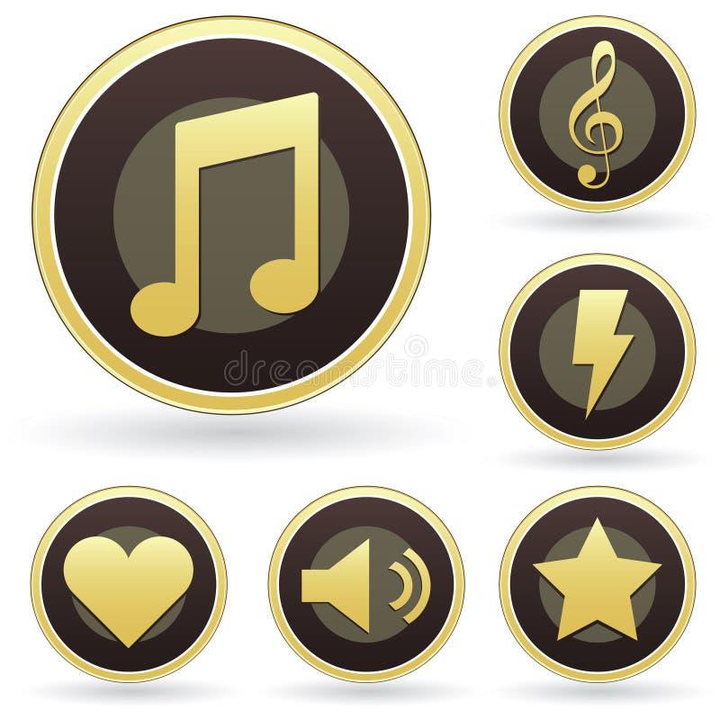 docenienia guzika ikon muzyczny setu wektor ilustracji