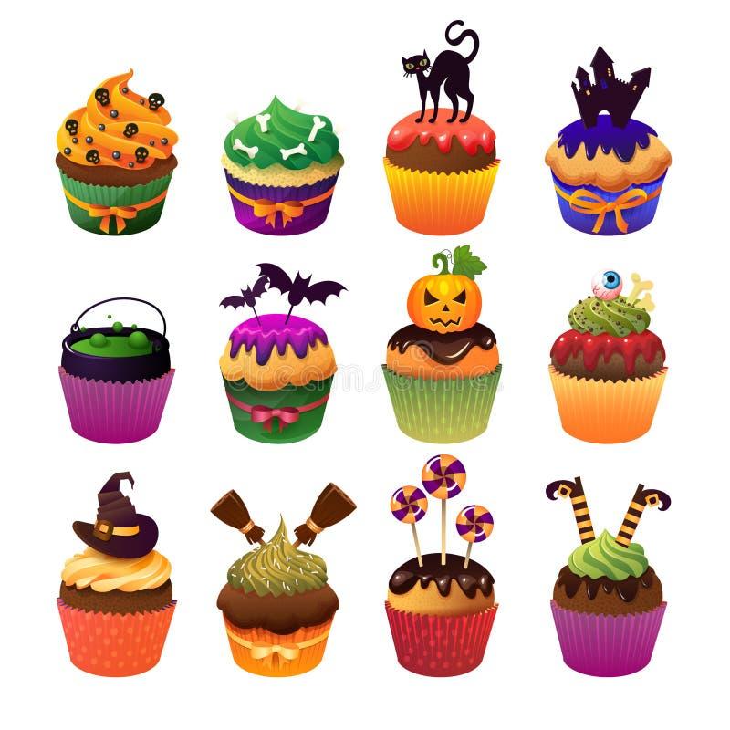 Doces assustadores ajustados do queque feliz de Dia das Bruxas a ilustração stock