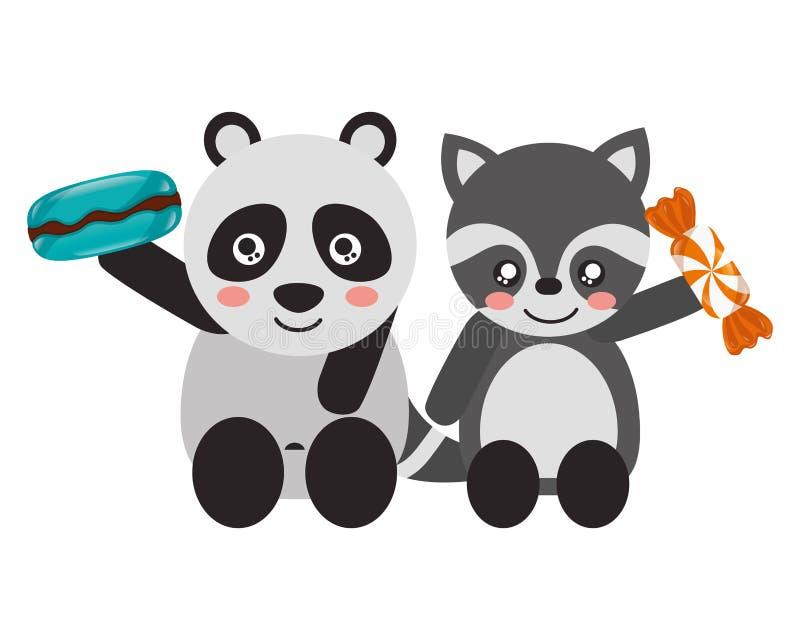 Doces doces bonitos da panda e do guaxinim ilustração stock
