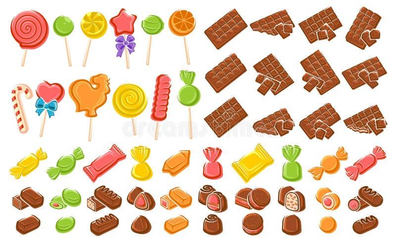 Doces, chocolate, grupo do pirulito Elementos e coleção dos ícones Vetor ilustração royalty free