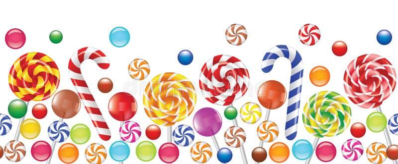 Doces coloridos, bombom da fruta, lollipop ilustração royalty free