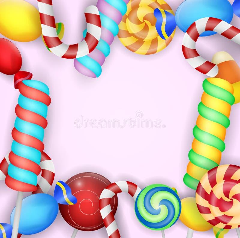 Doces coloridos doces no fundo cor-de-rosa ilustração stock