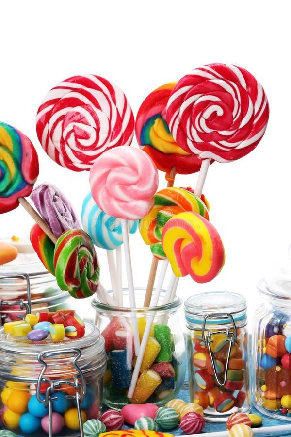 Doces com geleia e açúcar disposição colorida de doces e de deleites diferentes dos childs imagem de stock