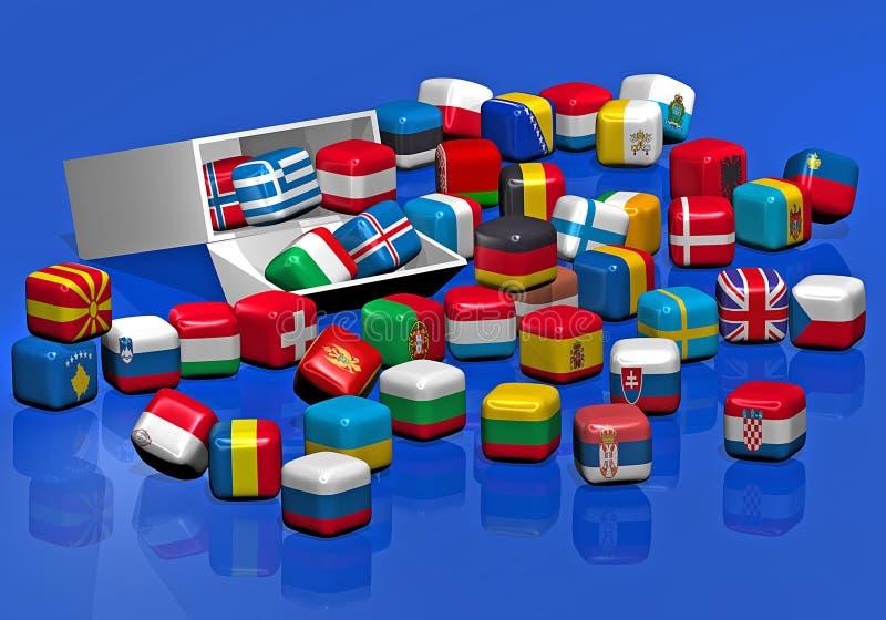 Doces com a textura de bandeiras européias ilustração stock