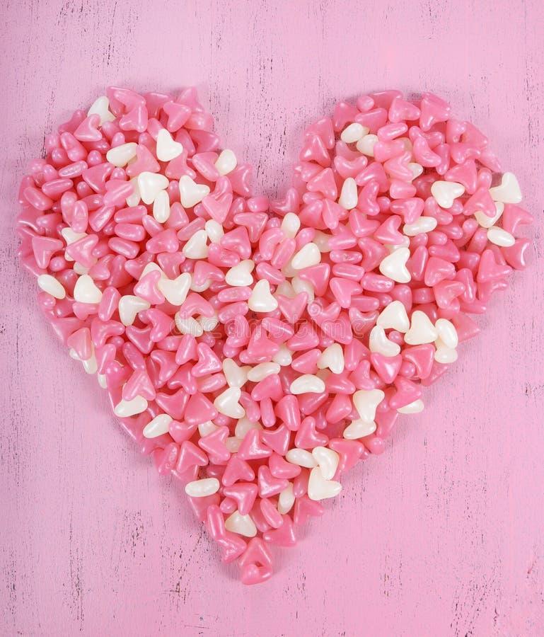 Doces cor-de-rosa e brancos do dia de Valentim da geleia imagens de stock royalty free