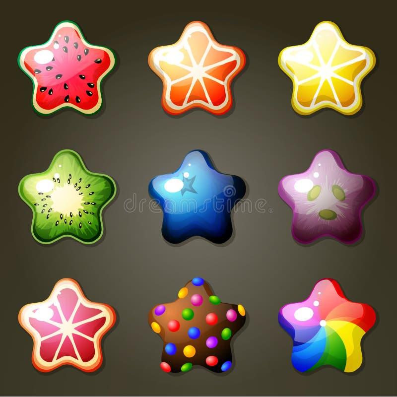Doces da estrela do fruto para o jogo do fósforo três ilustração royalty free