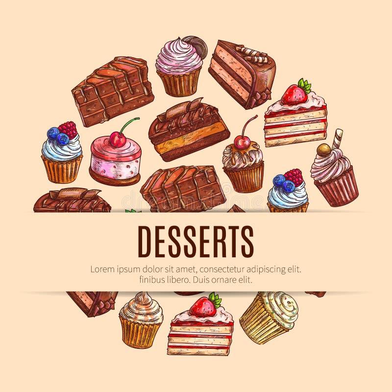 Doces da padaria e pastelaria, bandeira do alimento da sobremesa ilustração stock