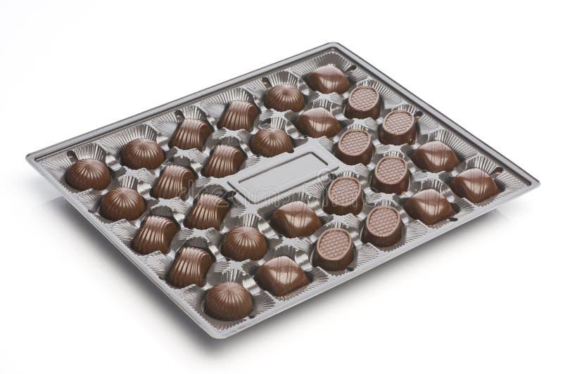 Doces de chocolate Assorted em uma caixa foto de stock