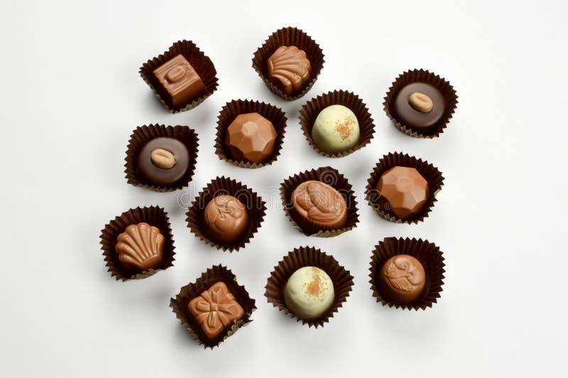 Doces de chocolate misturados imagem de stock