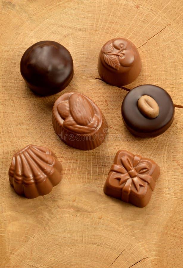 Doces de chocolate misturados fotos de stock royalty free