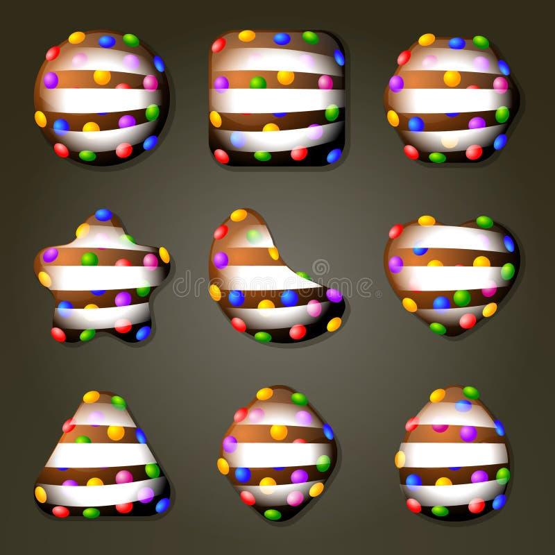 Doces de chocolate para o jogo do fósforo três ilustração stock