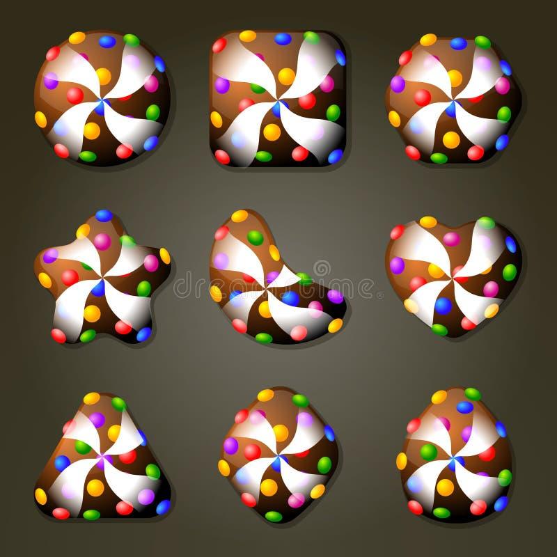 Doces de chocolate para o jogo do fósforo três ilustração do vetor