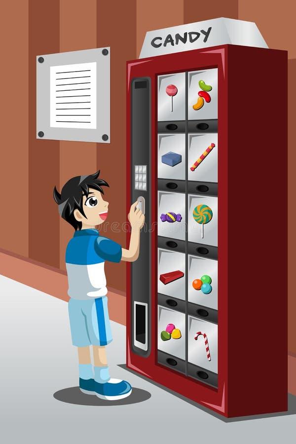 Doces de compra da criança de uma máquina de venda automática ilustração do vetor