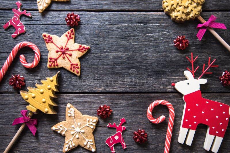 Doces decorados caseiros festivos do Natal imagem de stock