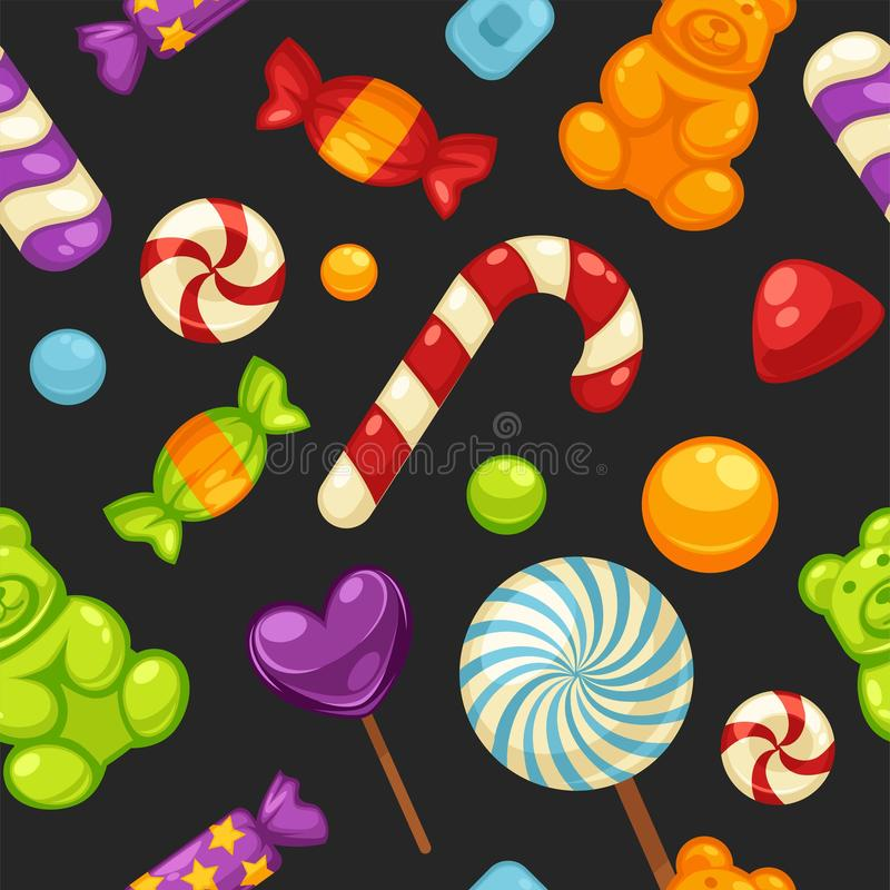 Doces doces deliciosos nas tampas e em pirulitos brilhantes na forma de corações bonitos, bastão listrado e peluche pequena em se ilustração royalty free