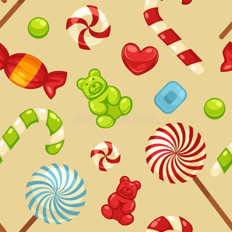 Doces doces deliciosos nas tampas e em pirulitos brilhantes na forma de corações bonitos, bastão listrado e peluche pequena em se ilustração stock
