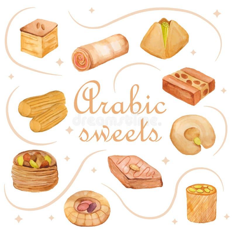 Doces do árabe da aquarela ilustração stock