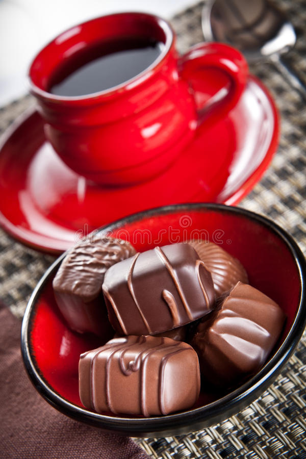 Doces do café e de chocolate fotografia de stock
