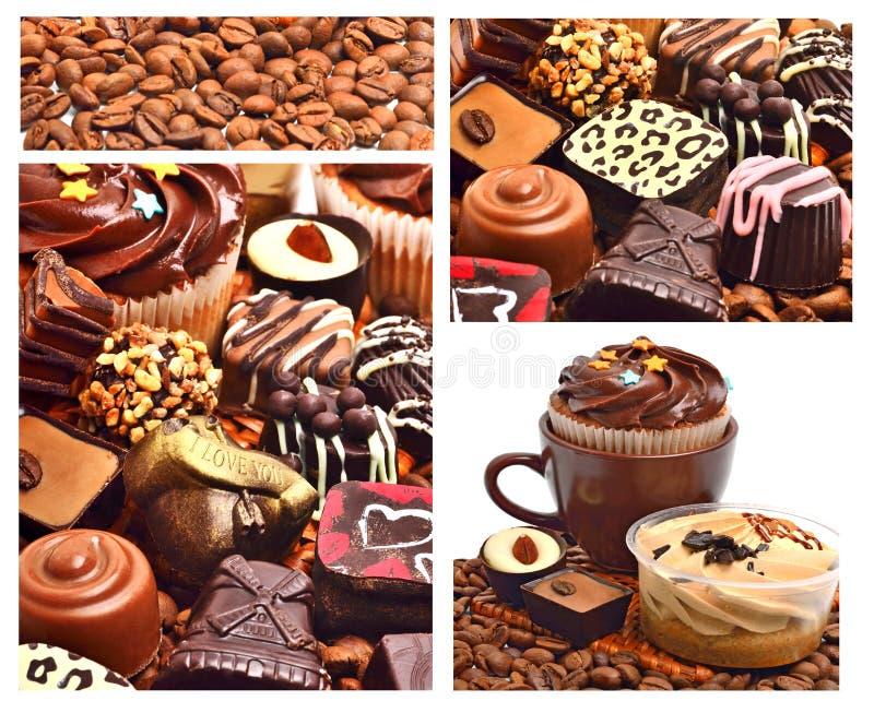 Doces do chocolate, queques e feijões de café fotografia de stock royalty free
