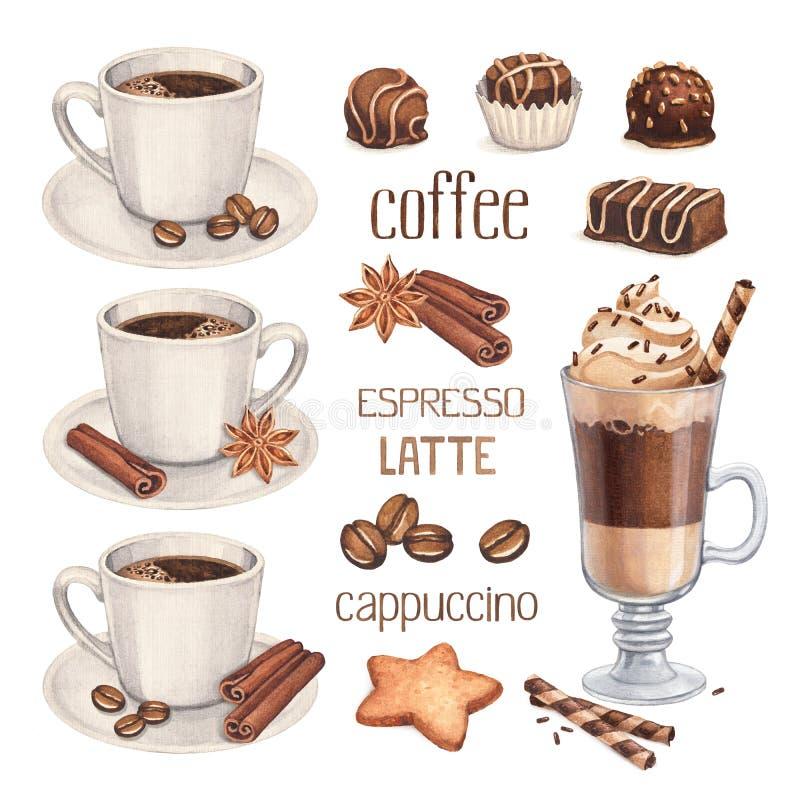 Doces do copo e do chocolate de café ilustração stock