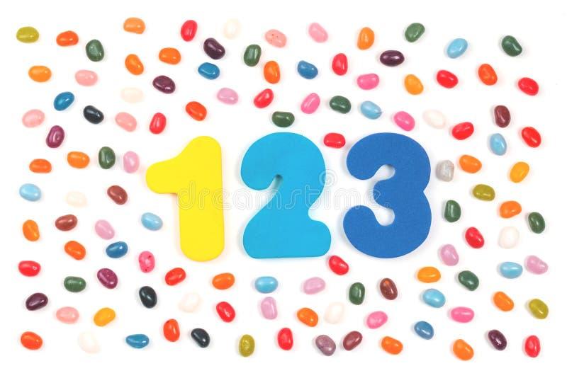 Doces do feijão de geleia e 123 dígitos fotografia de stock royalty free