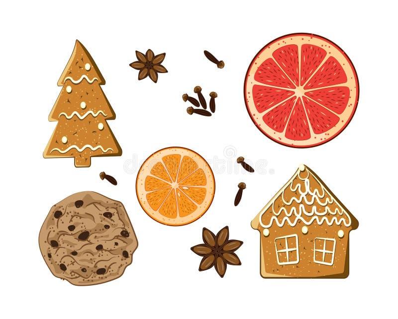 Doces do feriado do Natal ajustados Cookie americana, figura gingerbrea ilustração royalty free