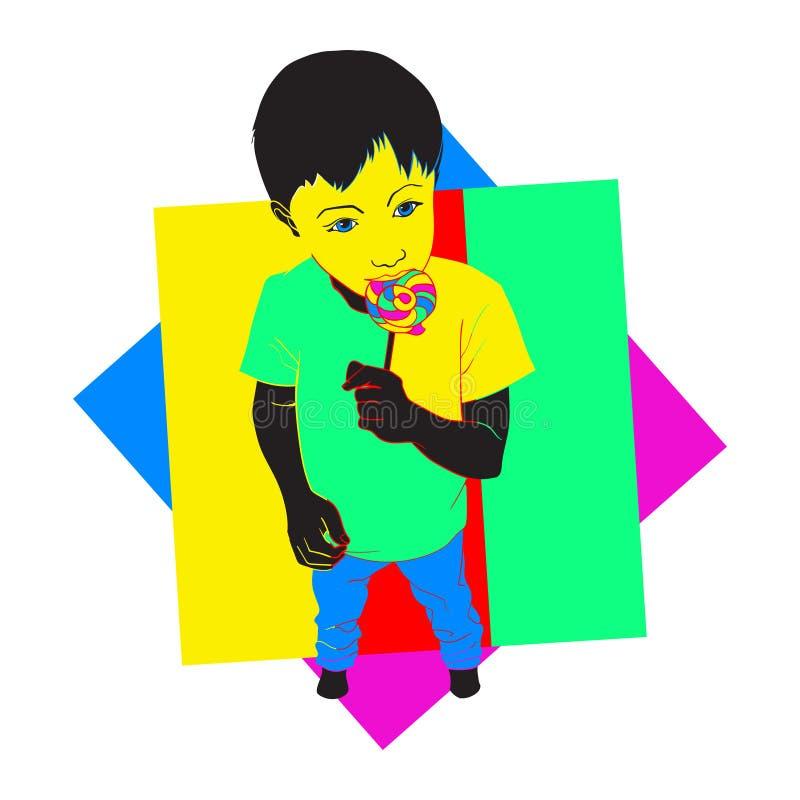 Doces do pirulito da terra arrendada do rapaz pequeno Criança que come o doce Cartaz colorido Ilustra??o do vetor isolada no bran ilustração royalty free