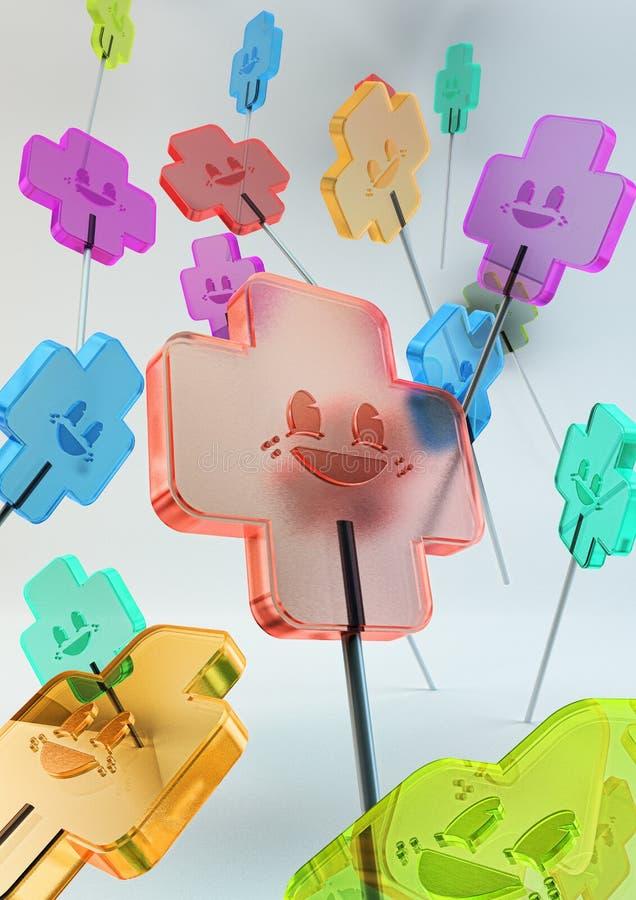 Doces doces coloridos translúcidos ilustração royalty free