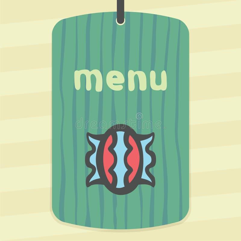 Doces doces do esboço do vetor no ícone do envoltório Logotipo moderno e pictograma ilustração stock
