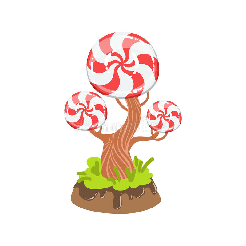 Doces duros com elemento doce da paisagem da terra clássica dos doces da fantasia da árvore do teste padrão do redemoinho ilustração royalty free