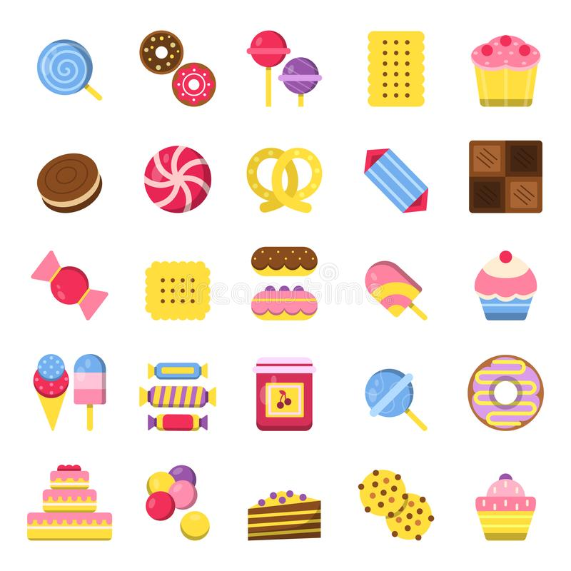 Doces e ícones da torta O vetor do alimento dos biscoitos do chocolate dos doces das panquecas e do gelado coloriu imagens lisas ilustração stock
