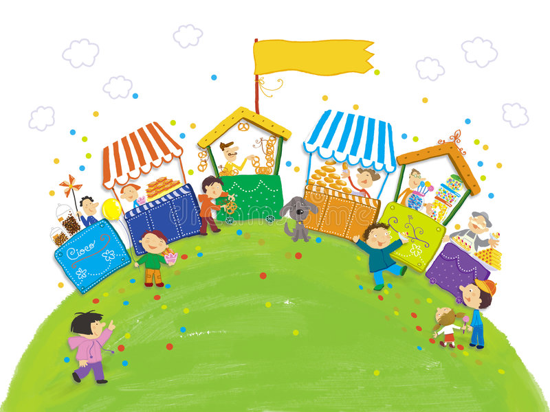 Doces e doces para os miúdos ilustração do vetor