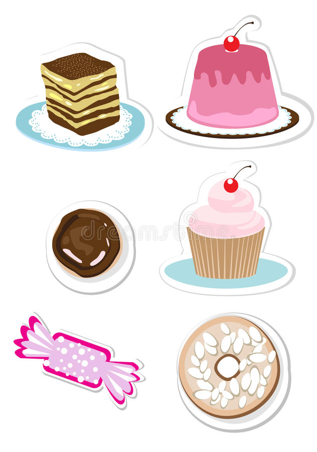 Doces e etiquetas dos doces ajustadas ilustração royalty free