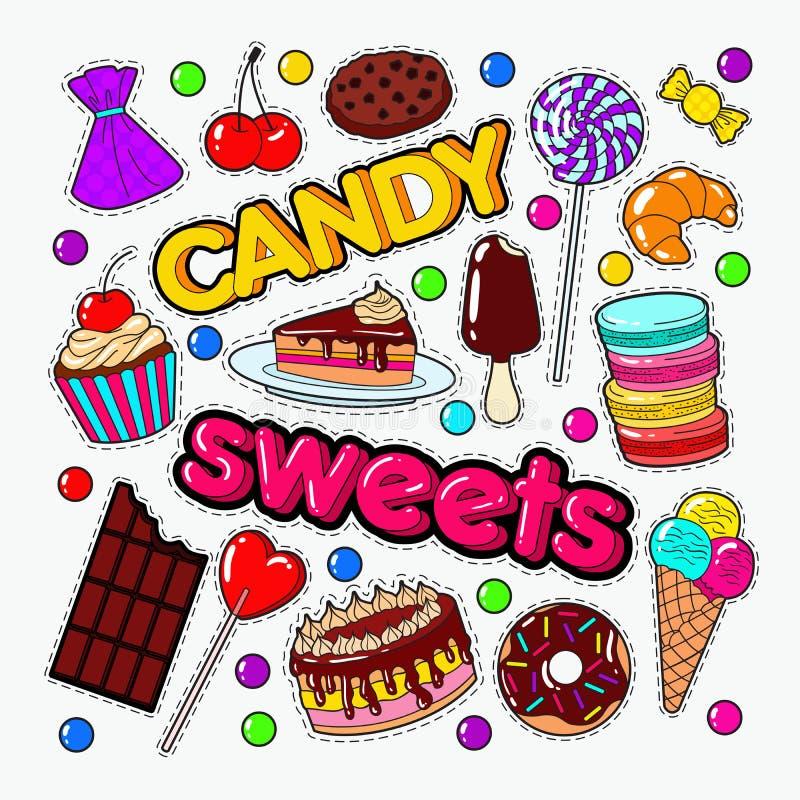 Doces e garatuja doce do alimento com chocolate e gelado ilustração royalty free