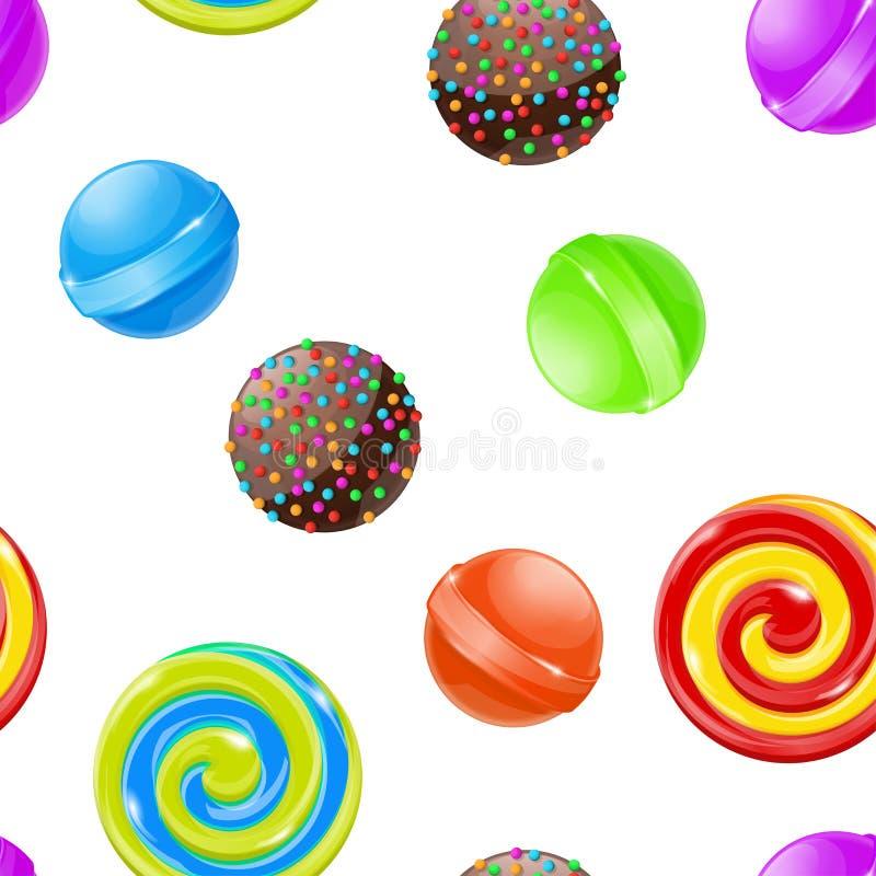Doces e doces Teste padrão sem emenda coleção colorida 3d ilustração royalty free