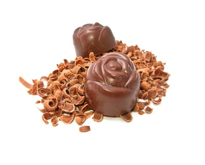 Doces em microplaquetas de chocolate imagens de stock royalty free