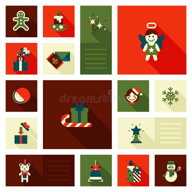 Doces lisos ajustados do estilo do ícone do ano novo do Natal ilustração royalty free
