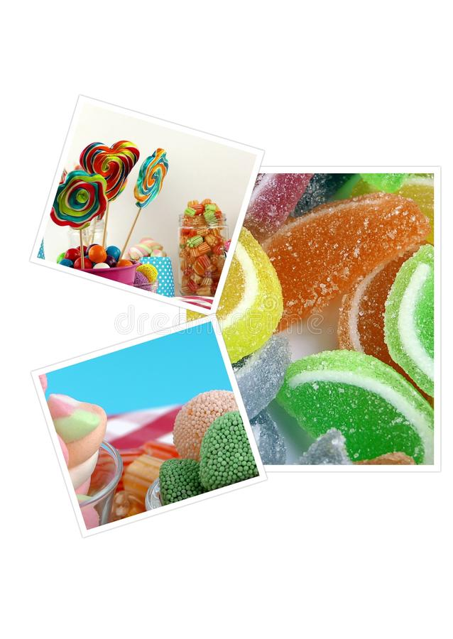Doces Lolly Sugary Collage doce foto de stock