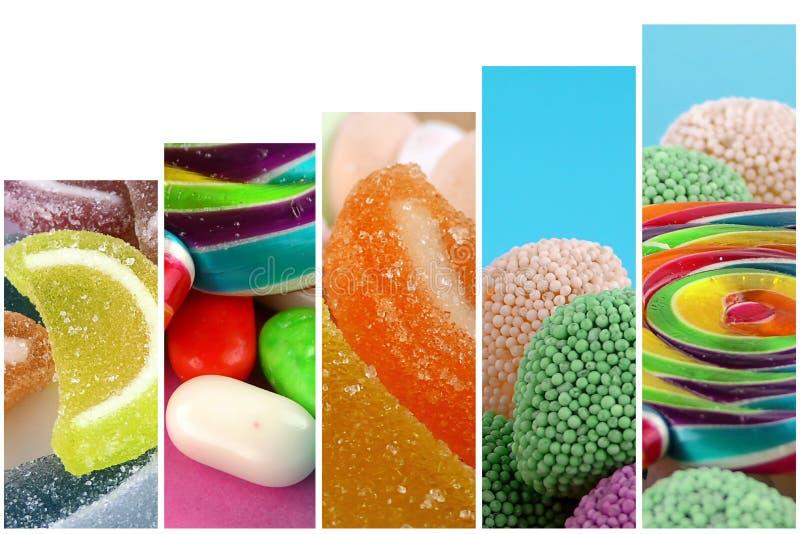 Doces Lolly Sugary Collage doce fotografia de stock