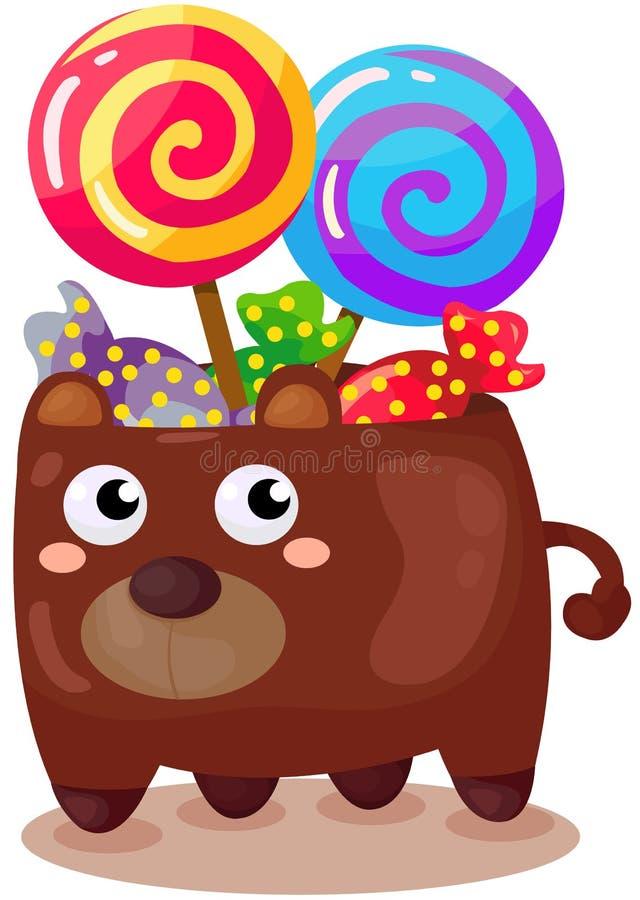 doces no copo do urso ilustração do vetor
