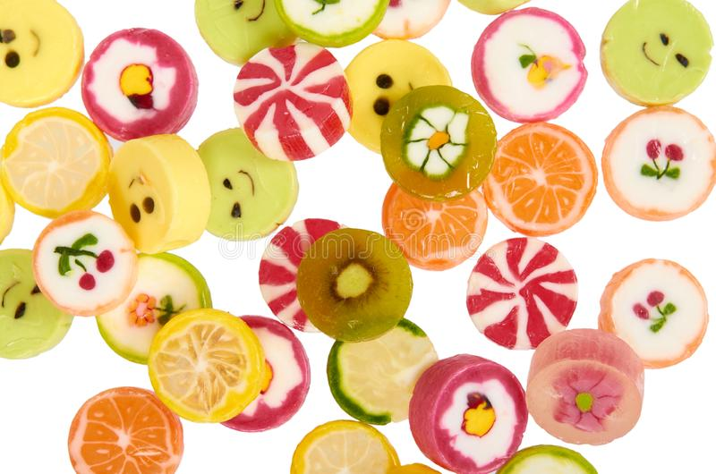 Doces redondos coloridos, pirulitos do açúcar, alimento doce da sobremesa fotografia de stock royalty free
