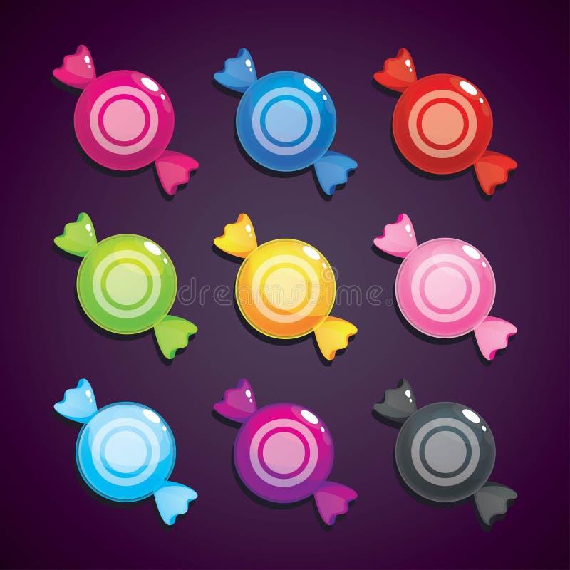Doces redondos em cores diferentes, grupo do vetor Ativos para o projeto de jogo ilustração royalty free