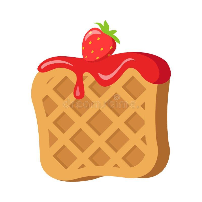 doces Waffle belga com creme vermelho da morango ilustração do vetor
