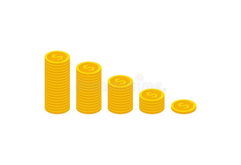 Dochód przyrostowa strategia, isometric Pieniężny wysoki wskaźnik rentowności, funduszu dźwiganie, celny przyrost, stopa procento ilustracja wektor