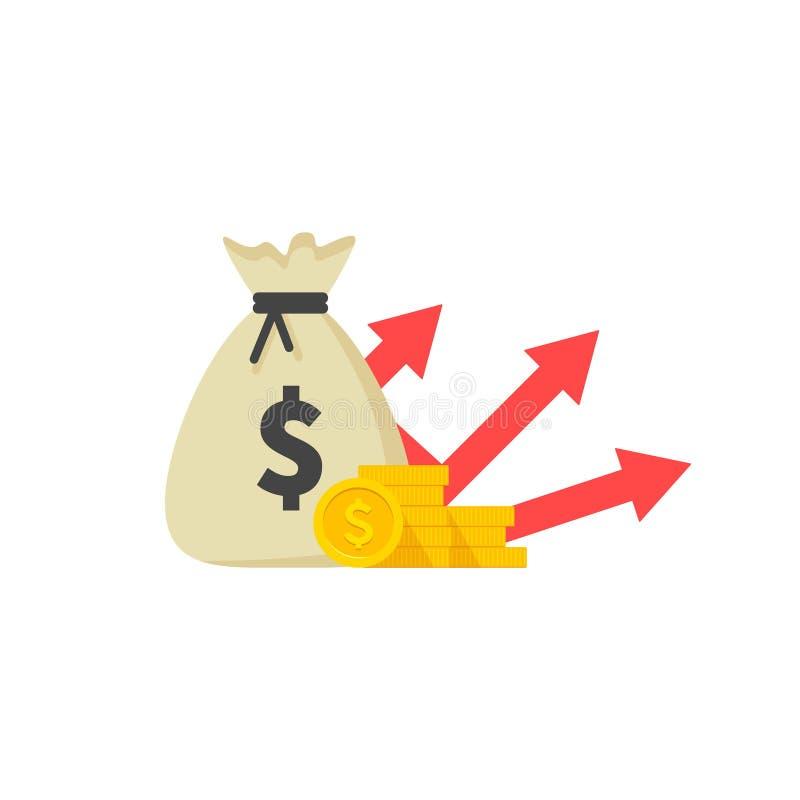 Dochód przyrostowa strategia, Pieniężny wysoki wskaźnik rentowności, funduszu dźwiganie, celny przyrost, stopa procentowa, pożycz ilustracja wektor